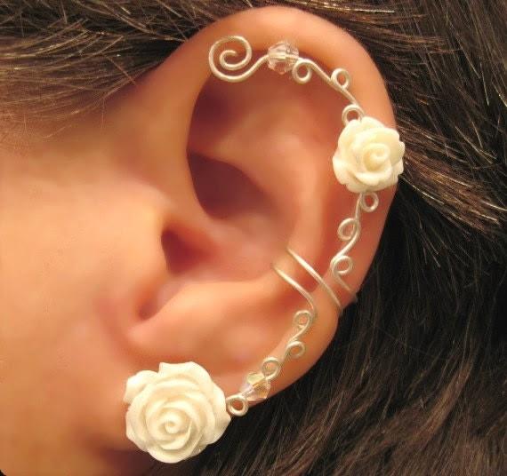 """Non Pierced Cartilage  Ear Cuff  Conch Cuff """"Roses are White"""" Silver tone Wedding Prom Bridal"""