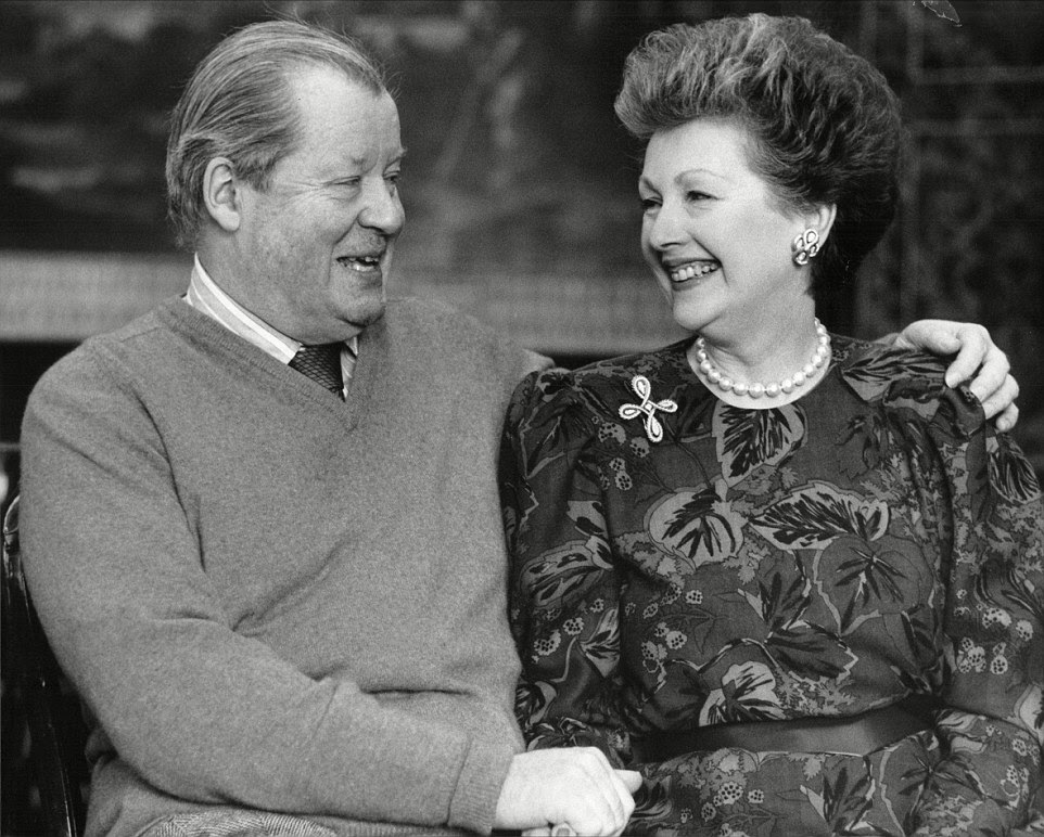 Earl and Countess Spencer at Althorp House. They were married until his death in 1992 - it was her second marriage