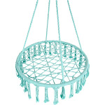 Best Choice Products Handwoven Cotton Macrame Hammock Hanging Chair Swing for Indoor & Outdoor w/ Fringe Tassels - Teal
