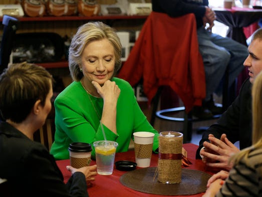 Clinton meets with local residents at the Jones St.