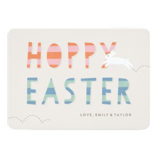 "Hoppy Easter Easter Card - Bubblegum 5"" X 7"" Invitation Card"