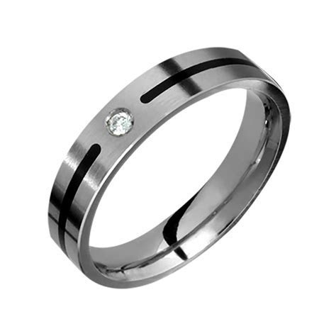 Titanium Diamond Ring Anniversary Wedding Band Black