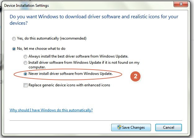 Stop installing driver automaticlly step 2