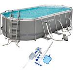 Bestway 18 Foot Power Steel Swimming Pool Set w/ Vacuum & Maintenance Kit