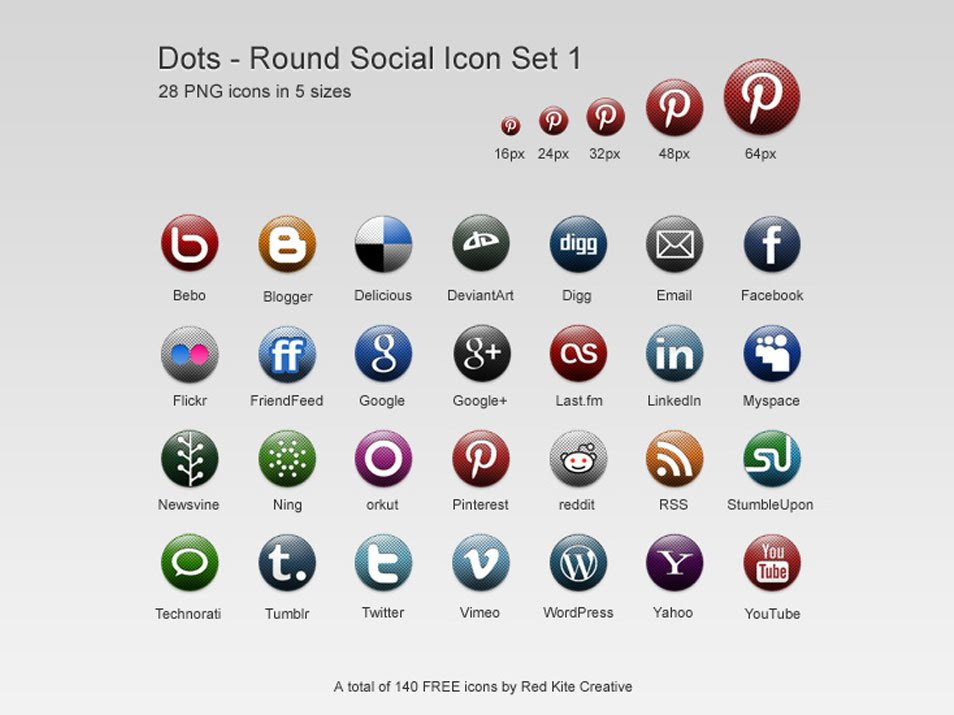 Free round dots social media icon set