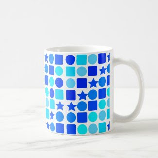 Blue Stars, Circles 'n' Squares on Coffee/Tea Mug