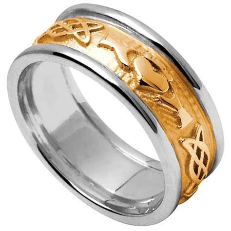 Claddagh Ring   Men's Yellow Gold with White Gold Trim