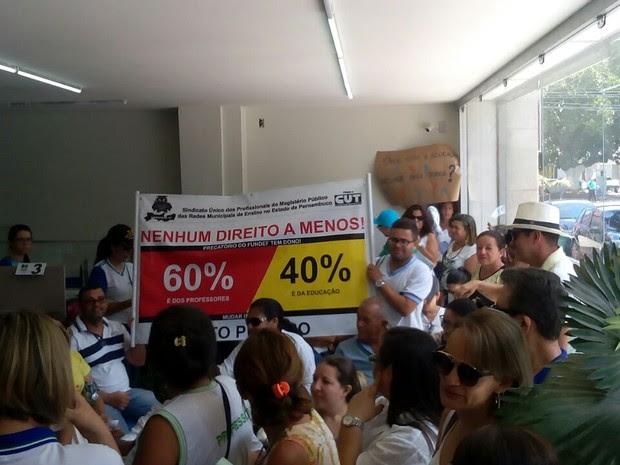 Protesto professores Santa Cruz do Capibaribe  (Foto: Ney Lima/Divulgação)
