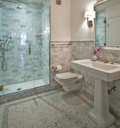 Bathroom Design Gallery on Anne Chessin Designs   Bathrooms   White Carrara Marble Hexagon Tiles
