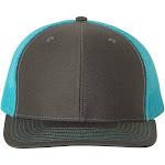 Richardson Men's Trucker Snapback Cap, Charcoal/ Neon Blue, Adjustable