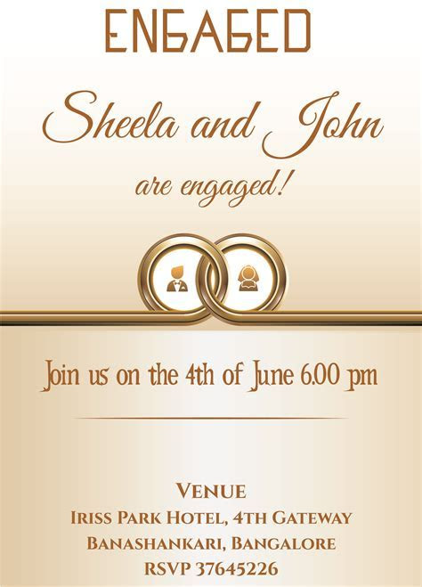 Free ring themed Engagement invitation card with wordings