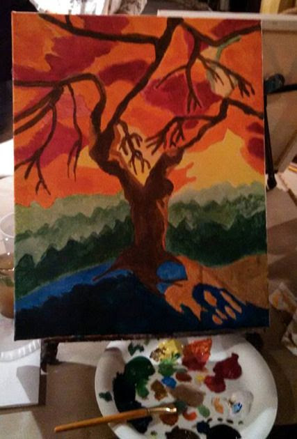 My painting of a spooky tree...on October 23, 2015.