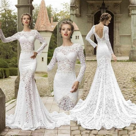 Elegant Long Sleeve Lace Mermaid Wedding Dresses Backless