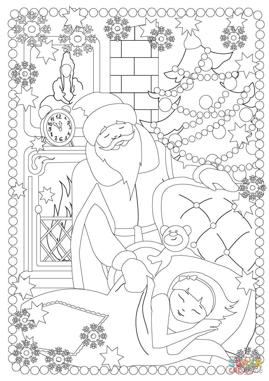 Dibujo De Santa Claus En Casa Para Colorear Dibujos Para Colorear