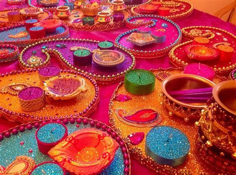 Multi coloured Mehndi plates. See my Facebook page www