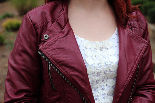 Burgundy Leather Jacket with a White Dress