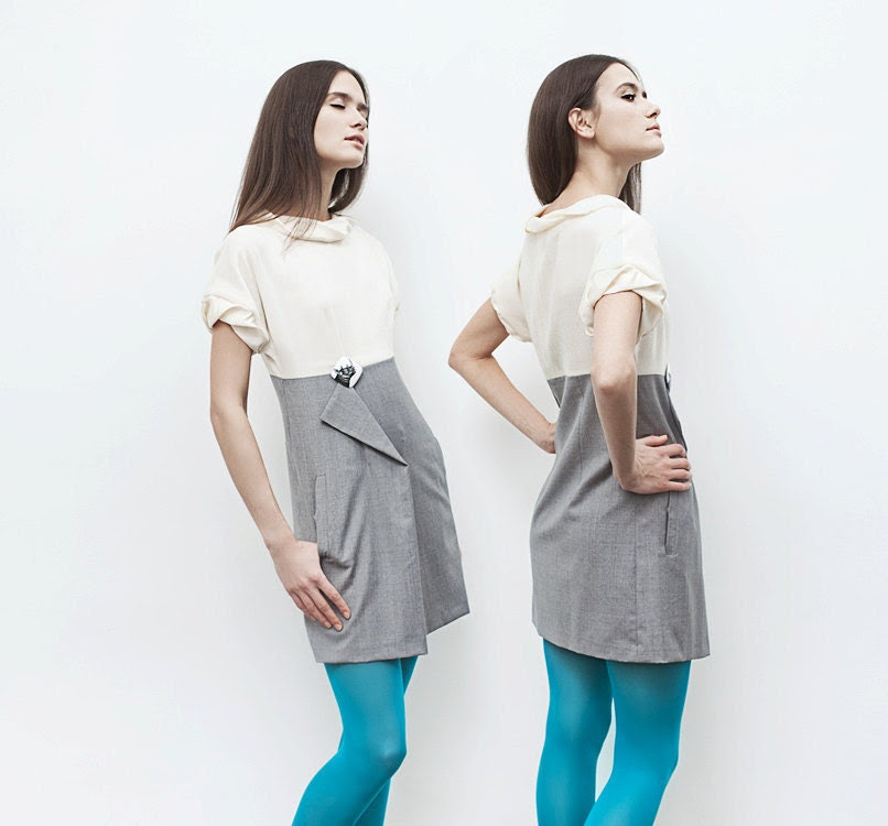 "Spring. Wool mini-dress ""Maria"". Size: S"