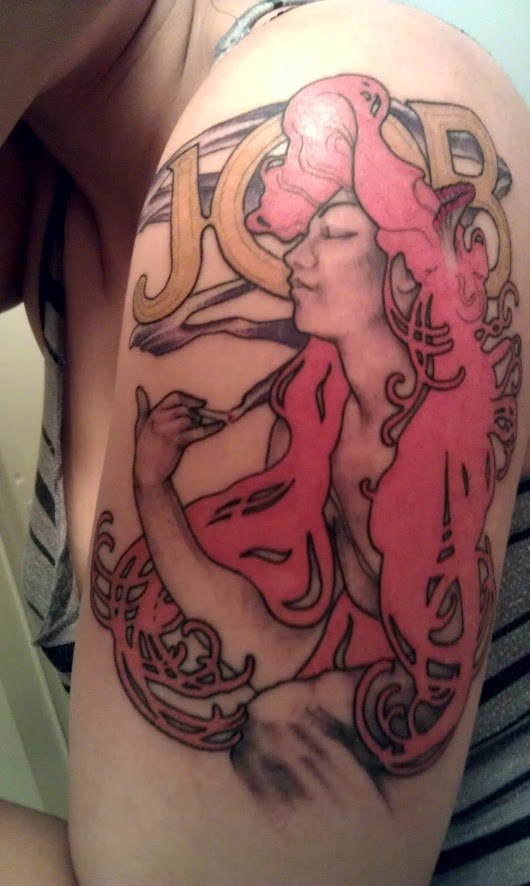FYeahTattoos.com — My first tattoo! Alphonse Mucha's Job ad. Done by...