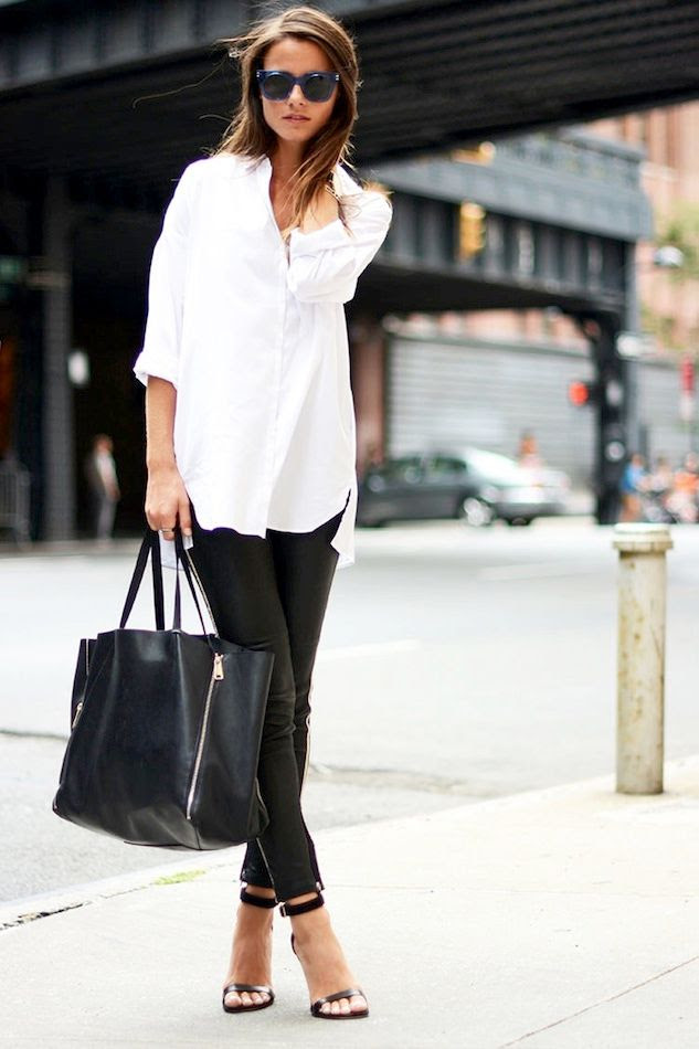 Le Fashion Blog Casual Chic Black And White Look Blue Sunglasses Oversized Button Down Shirt Leather Pants Tote Sandals Via Fashion Vibe -- Shopbop Sale Discount Code