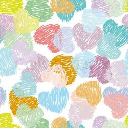 Seamless pattern with sketch hearts Pastel color on a
