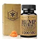 Hemp Oil Capsules 1200mg, Hemp Oil for Pain Relief, Anxiety & Stress Relief, Sleep, Mood & Immunity Support – 100% Organic Whole-Plant Hemp Oil Extract Softgels with Turmeric – Zero THC – Made in USA