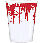Amscan Bloody Good Time Halloween Party Plastic Cups (Pack of 25), Red/White, 16 oz