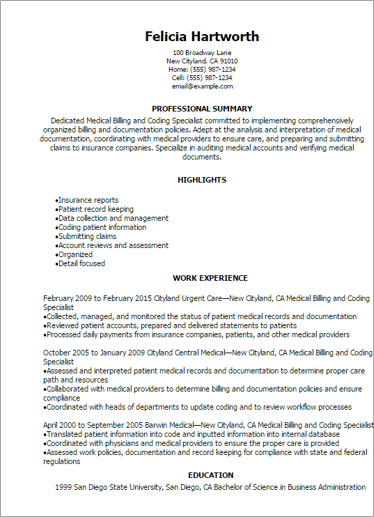 Medical Billing And Coding Specialist Resume professional summary