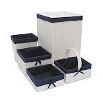Redmon 7200WHNV Hamper & Basket Set White & Navy - 5 Piece