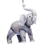 Hand Crafted Glass Christmas Tree Ornament or Figurine, Gray Elephant