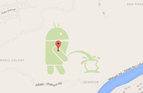 Google Maps : un robot Android pisse sur Apple au Pakistan !