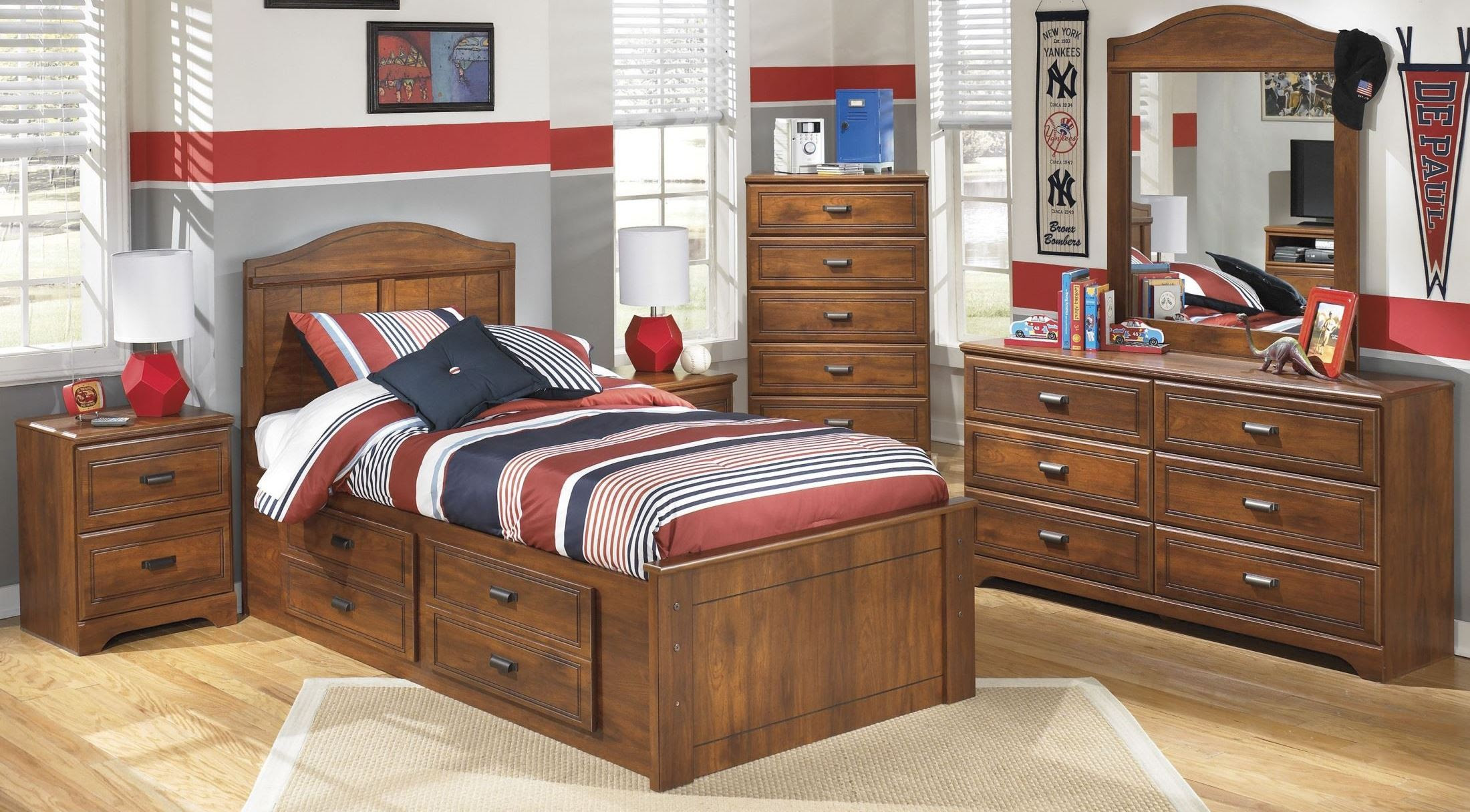 Barchan Youth Panel Underbed Storage Bedroom Set, B228-50 ...
