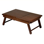 Pemberly Row Lap Desk Flip Top with Drawer and Foldable Legs in Antique Walnut - PR-423269