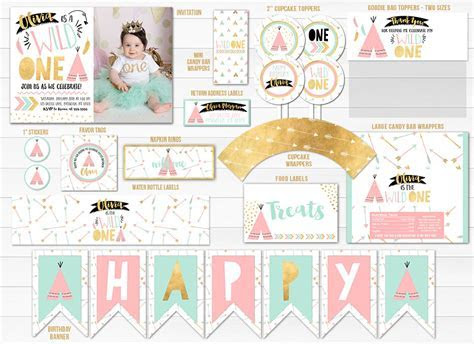 Printable Pink, Mint and Gold Wild One Tribal Birthday