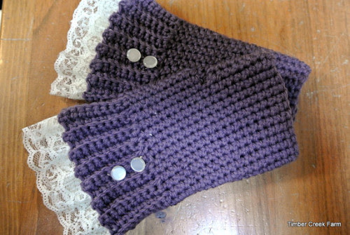 Fingerless Gloves with Lace