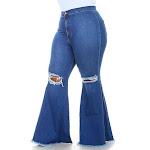 Plus Size Vibrant Ripped Knee Super Flare Jeans - Medium Denim, 13 / Blue