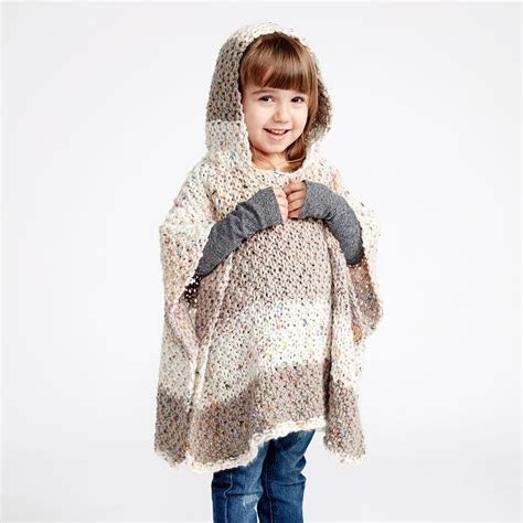 Caron® Sprinkle Cakes? Hooded Girls Knit Poncho