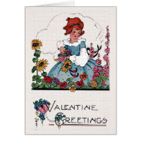 Vintage Valentine Girl in Flower Garden Card