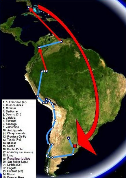 Map of Che and Alberto's Journey and His time in Africa