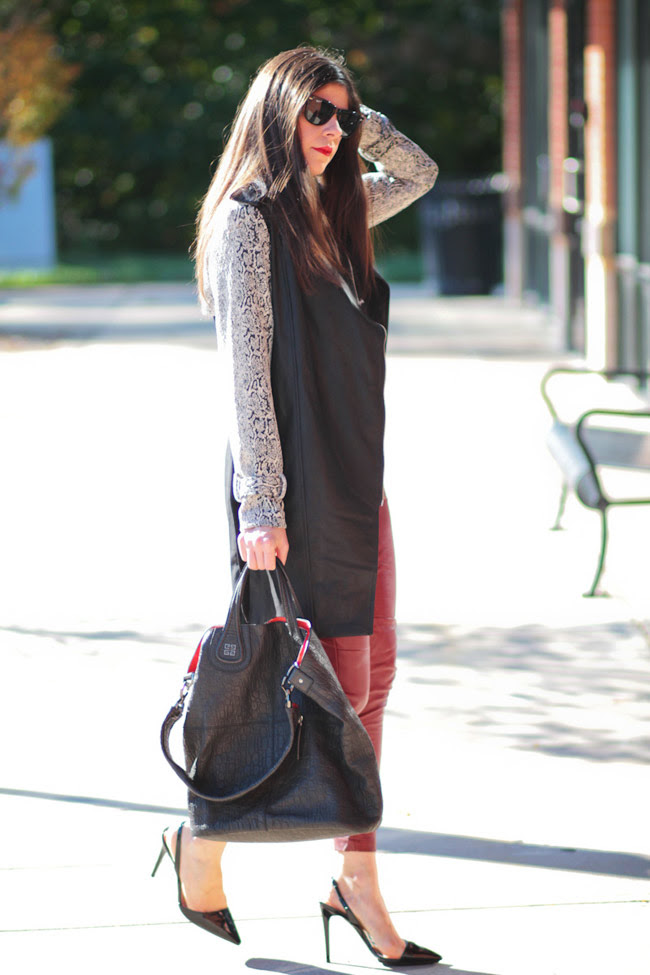 Leather pants, Stella McCartney Morgana heels, Givenchy Nightingale reptile large shopper, Fashion outfit