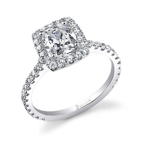 Tina   Classic Cushion Cut Engagement Ring with Halo