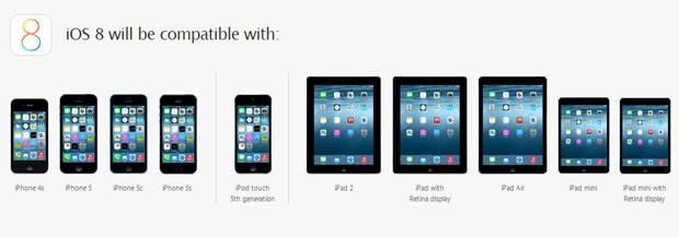 Apple divulgou quais de seus aparelhos serão compatíveis com o iOS 8 (Foto: Divulgação/Apple)