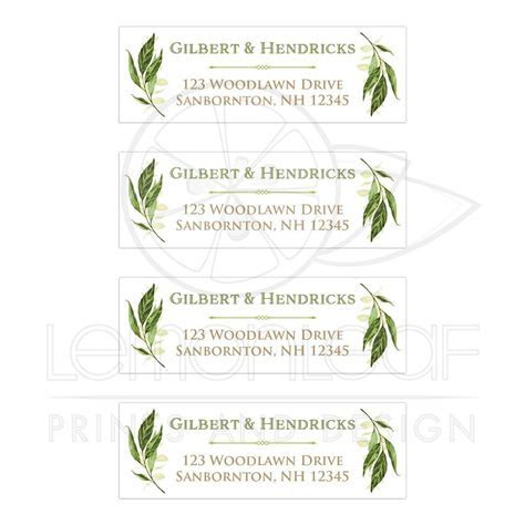 Personalized Greenery Foliage Wedding Address Labels