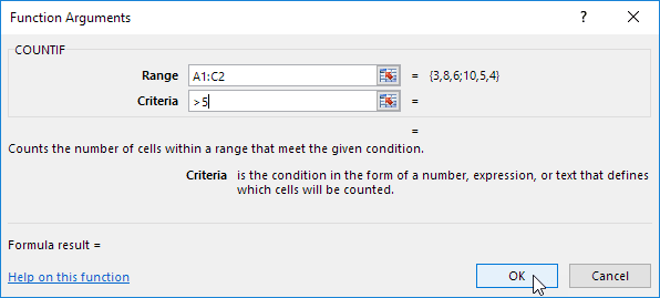 Function Arguments Dialog Box