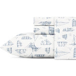 Nautica Cotton Percale Deep Pocket Bed Sheet Sets Whitewood Full Abstract