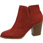 Cityclassified City Classified Women's Elastic Side V Cut Stacked Block Heel Ankle Bootie