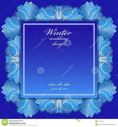 Winter Frozen Glass Background. Blue Wedding Frame Design