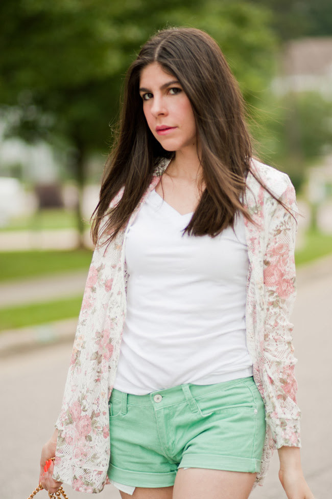 Floral Print Lace Jacket, Mint Green Shorts, Fashion Outfit, Espadrille wedge sandals, Rebecca Minkoff Green Bag