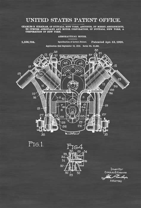 Curtiss Airplane Engine Patent 1920 – Airplane Blueprint
