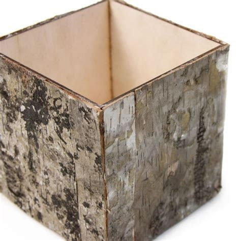 Natural Birch Bark Cube Vases [404464] : Wholesale Wedding