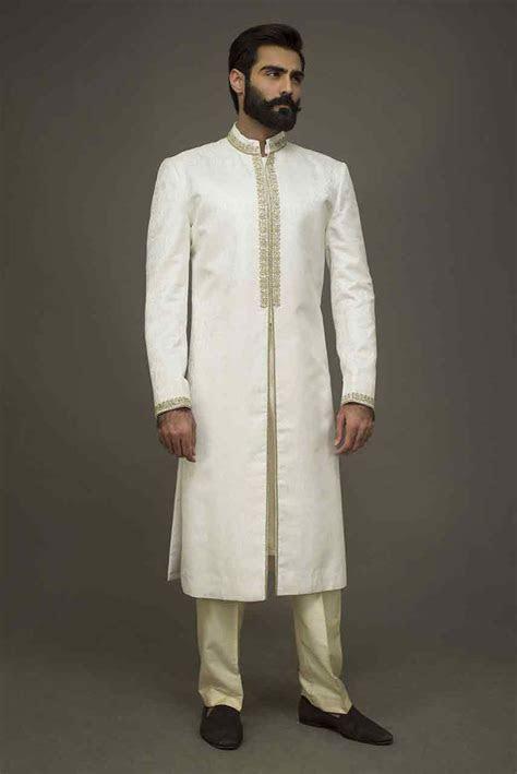 trendy white pakistani groom wedding sherwani designs 2018
